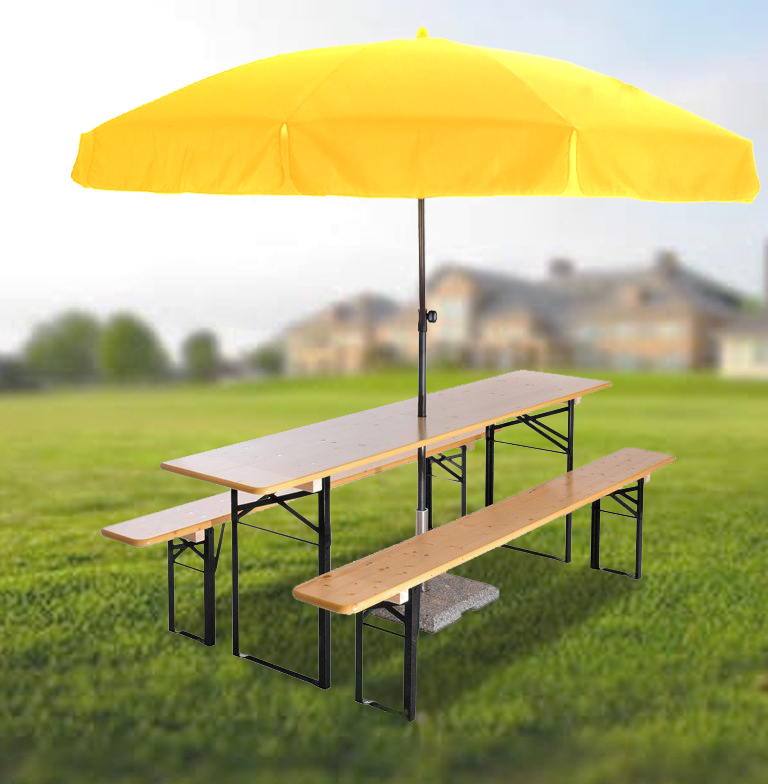 Beer Garden Set & Round Umbrella • Beer Garden Furniture